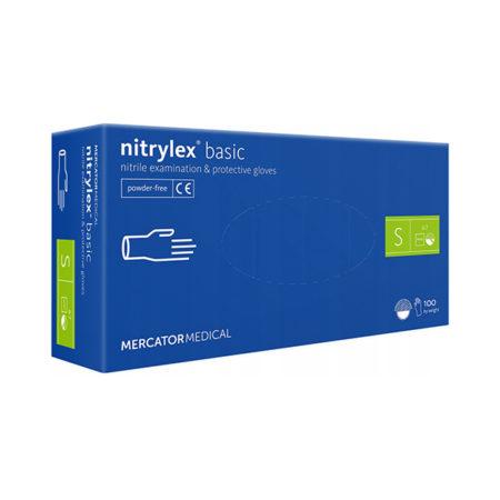 nitrylex rękawice nitrylowe niebieskie blue Basic rozmiar s do paznokci